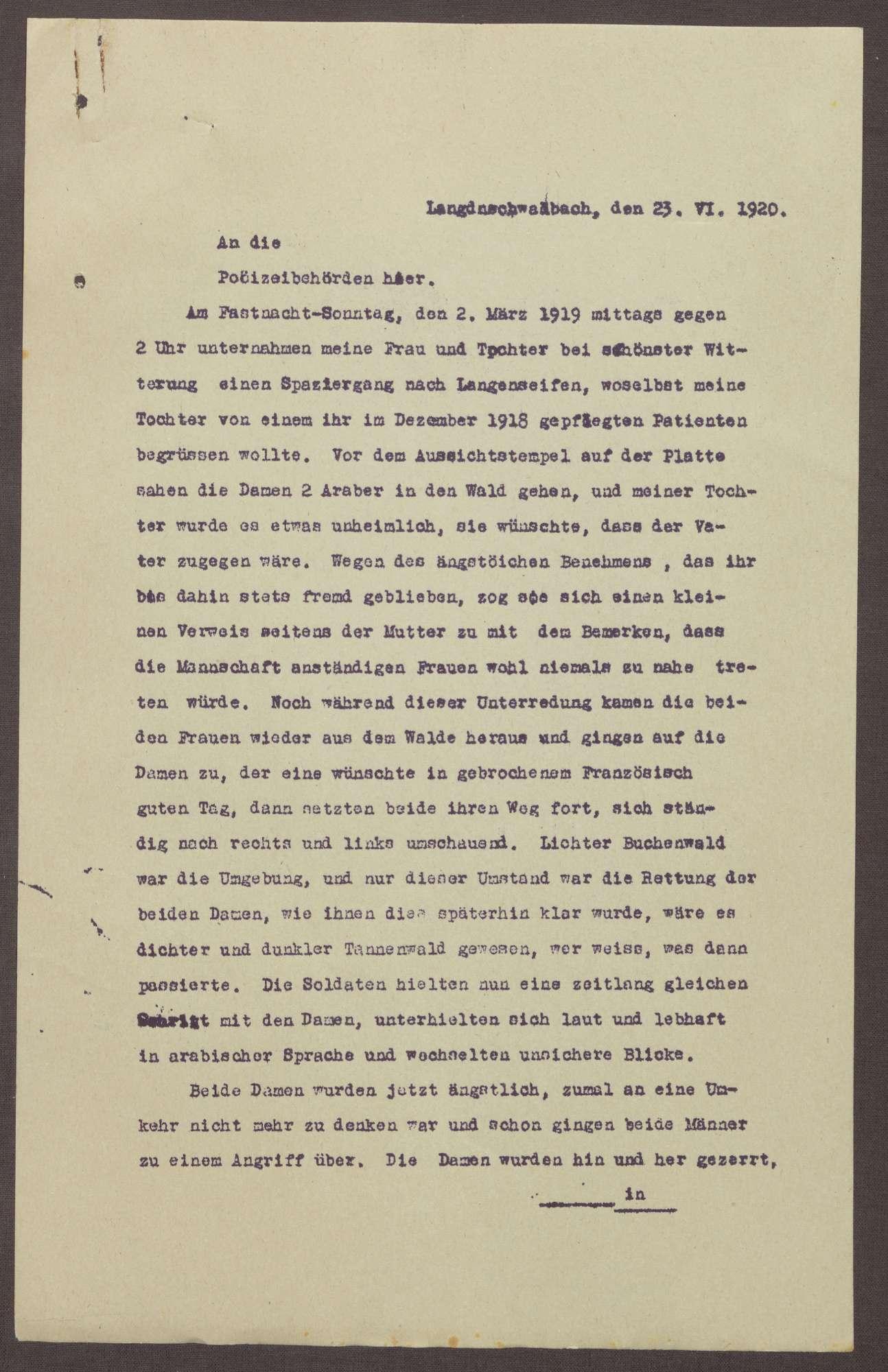 Schreiben an die Polizeibehörden in Bad Schwalbach; Bericht über eine versuchte Vergewaltigung der Tochter und Ehefrau, Bild 1