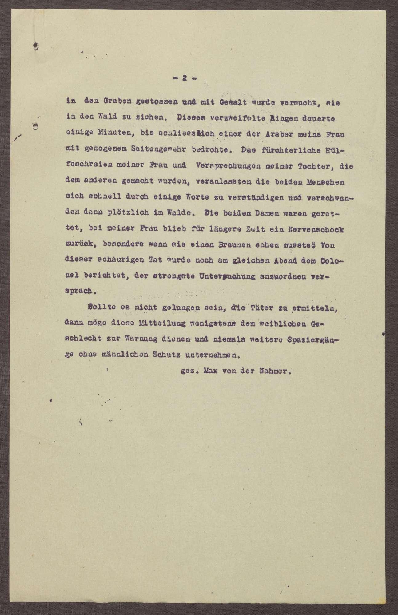 Schreiben an die Polizeibehörden in Bad Schwalbach; Bericht über eine versuchte Vergewaltigung der Tochter und Ehefrau, Bild 2