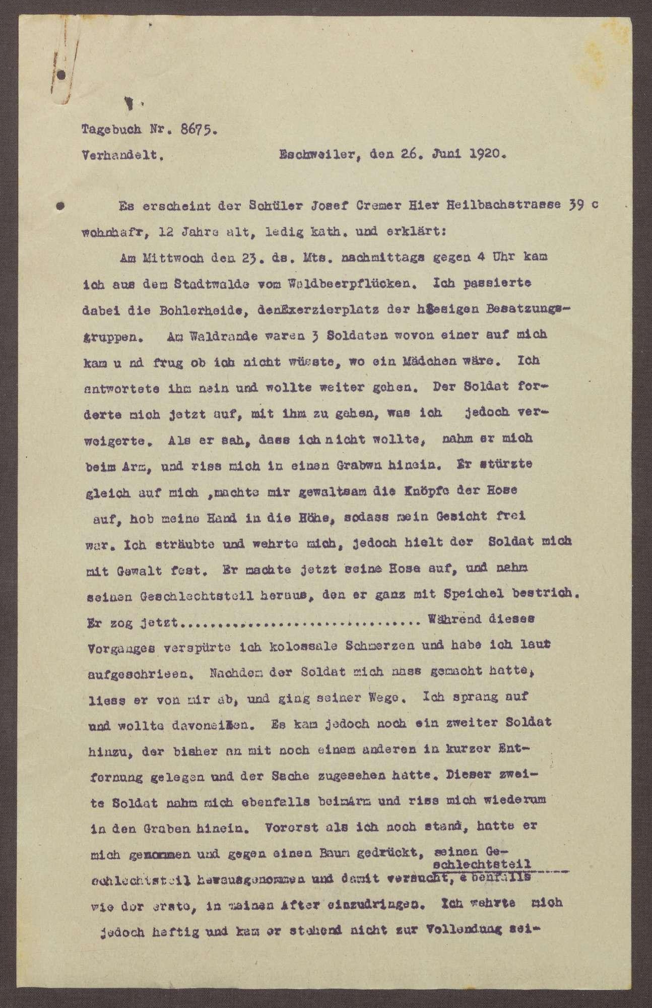 Polizeibericht über eine Vergewaltigung in Eschweiler, Bild 1