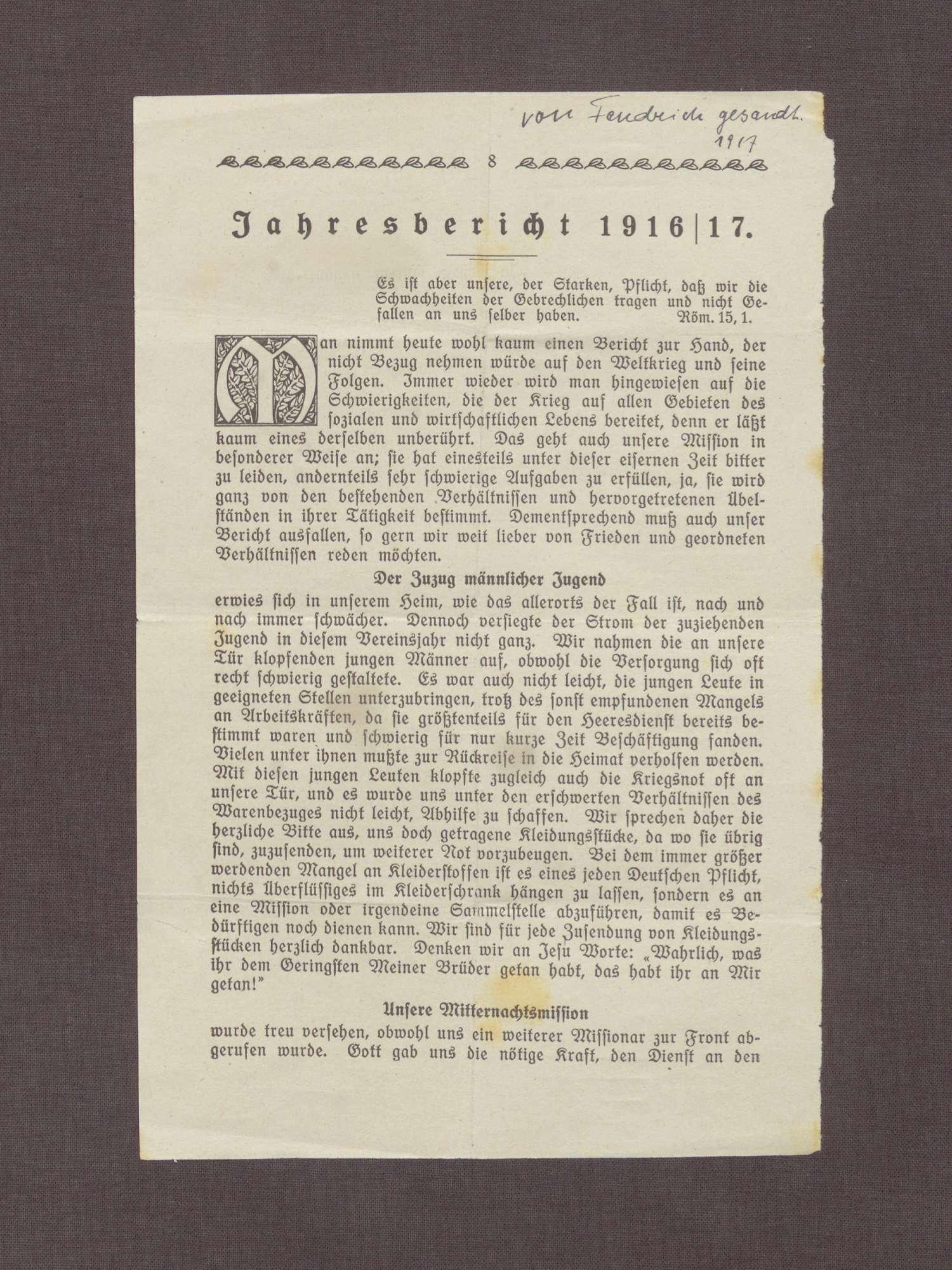 Auszüge des Jahresberichtes der Inneren Mission in Duisburg 1916/1917, Bild 1