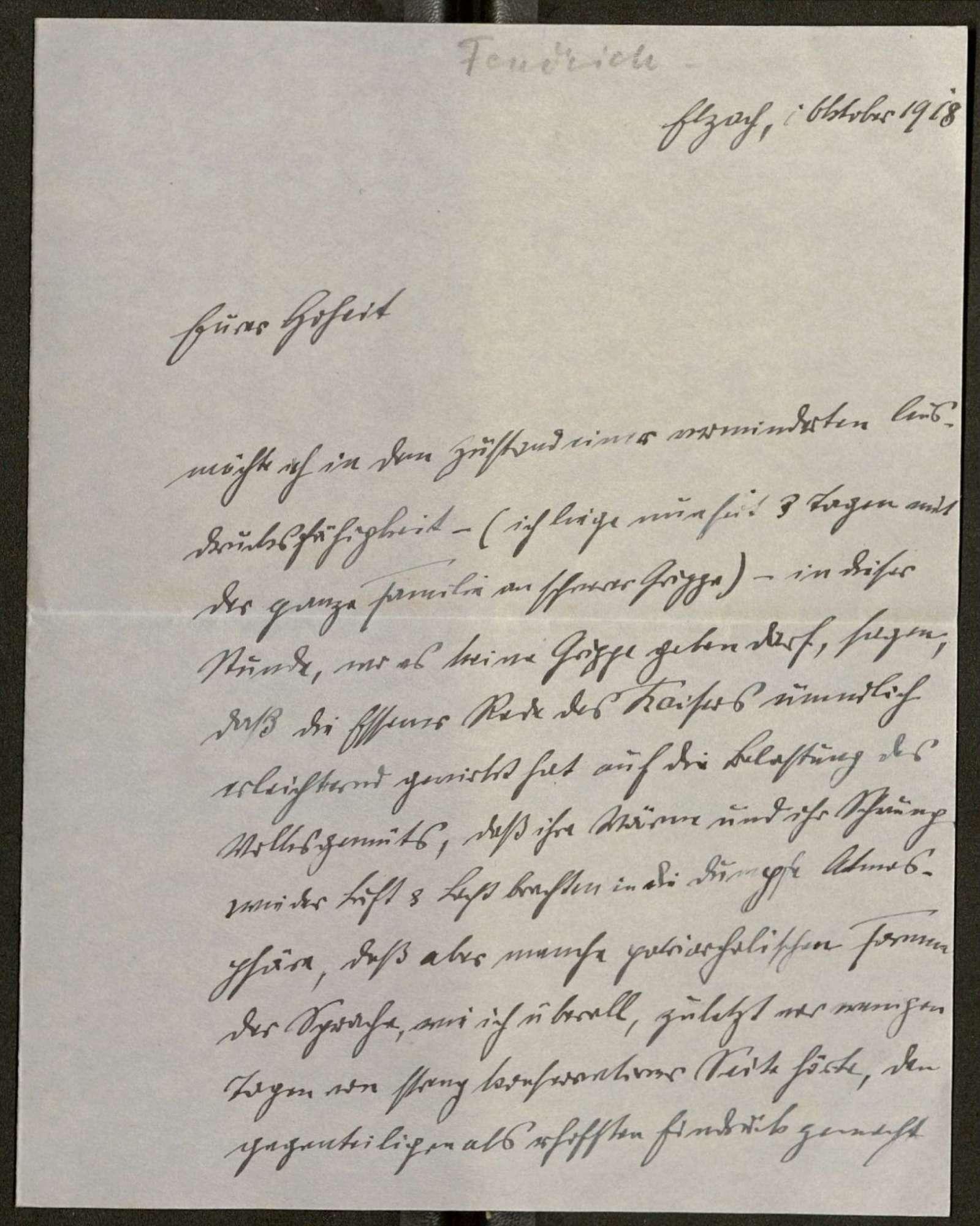 Schreiben von Anton Fendrich an Prinz Max von Baden; Regierungsbeteiligung Friedrich Eberts, Bild 1
