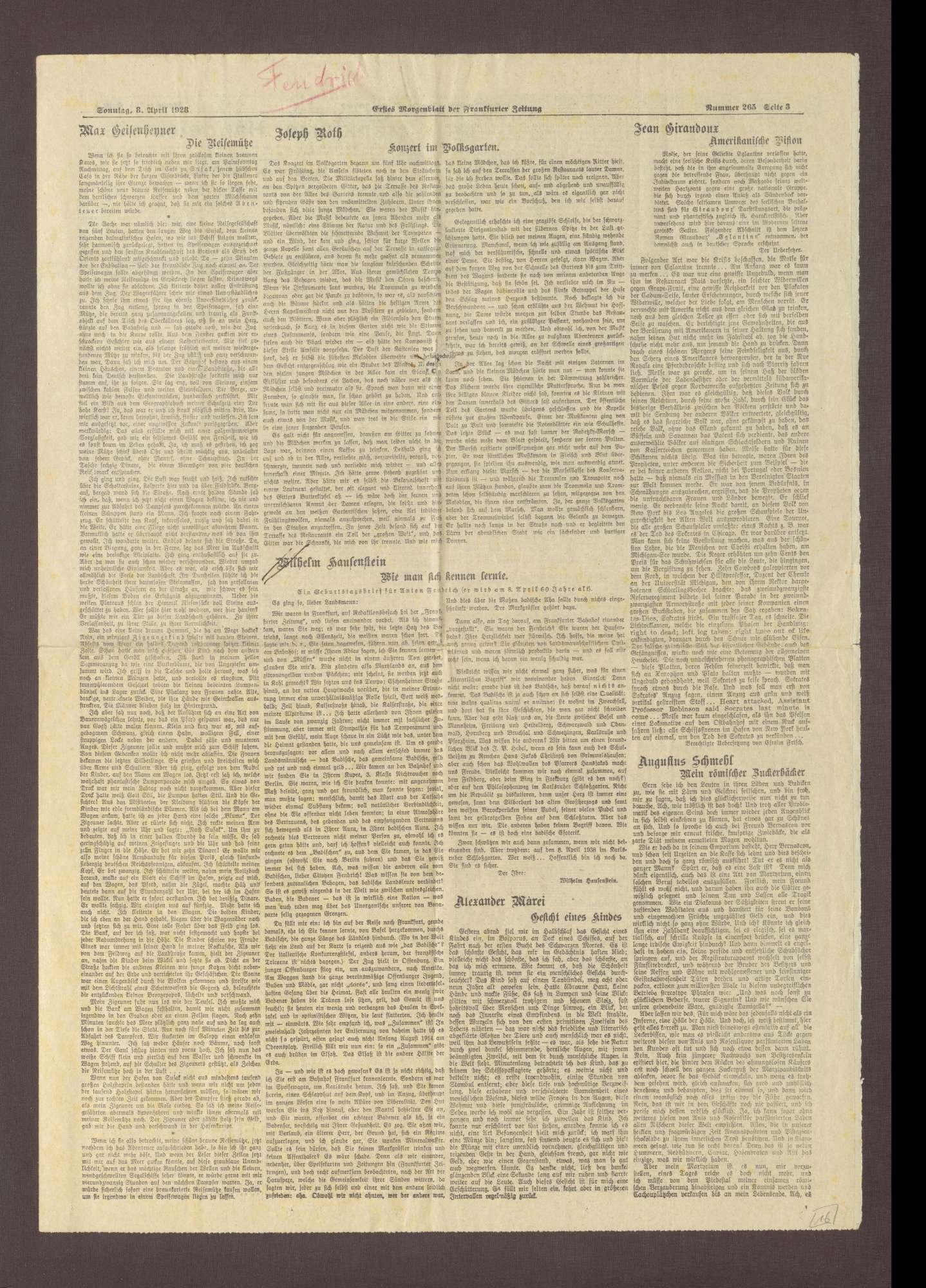 """Zeitungsausschnitt aus der """"Frankfurter Zeitung"""" mit dem Artikel: """"Wie man sich kennen lernte. Ein Geburtstagsbrief für Anton Fendrich"""" von Wilhelm Hausenstein, Bild 1"""