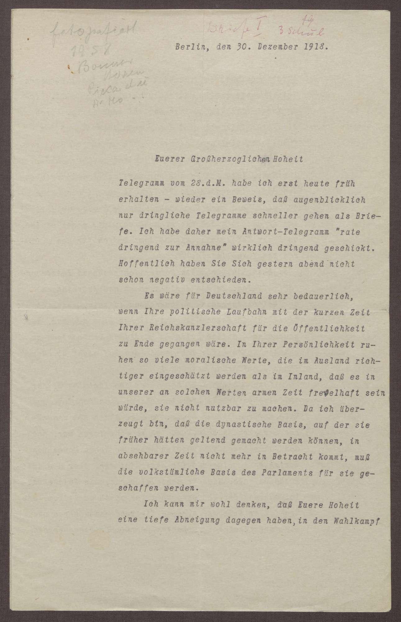 Schreiben von Walter Simons an Prinz Max von Baden; Kandidatur des Prinzen Max für die Wahlen zum Reichspräsidenten 1919, Umbrüche in der Reichskanzlei, Einschätzungen zur Stellung von Friedrich Ebert, Bild 1