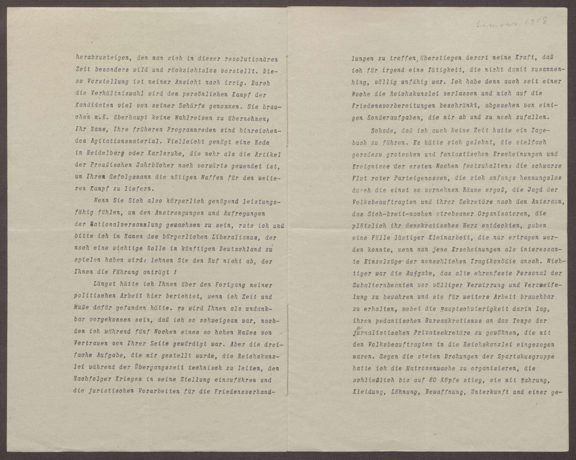 Schreiben von Walter Simons an Prinz Max von Baden; Kandidatur des Prinzen Max für die Wahlen zum Reichspräsidenten 1919, Umbrüche in der Reichskanzlei, Einschätzungen zur Stellung von Friedrich Ebert, Bild 2