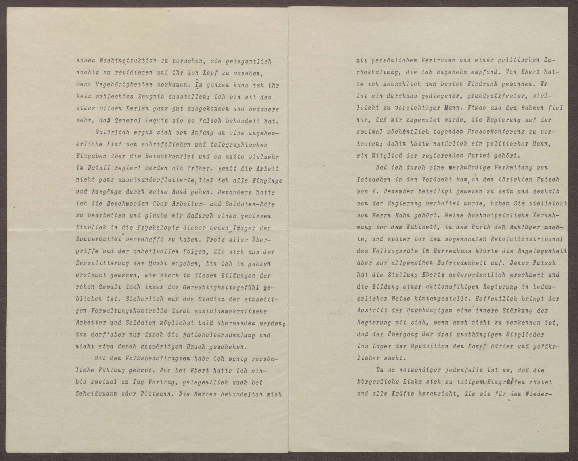 Schreiben von Walter Simons an Prinz Max von Baden; Kandidatur des Prinzen Max für die Wahlen zum Reichspräsidenten 1919, Umbrüche in der Reichskanzlei, Einschätzungen zur Stellung von Friedrich Ebert, Bild 3