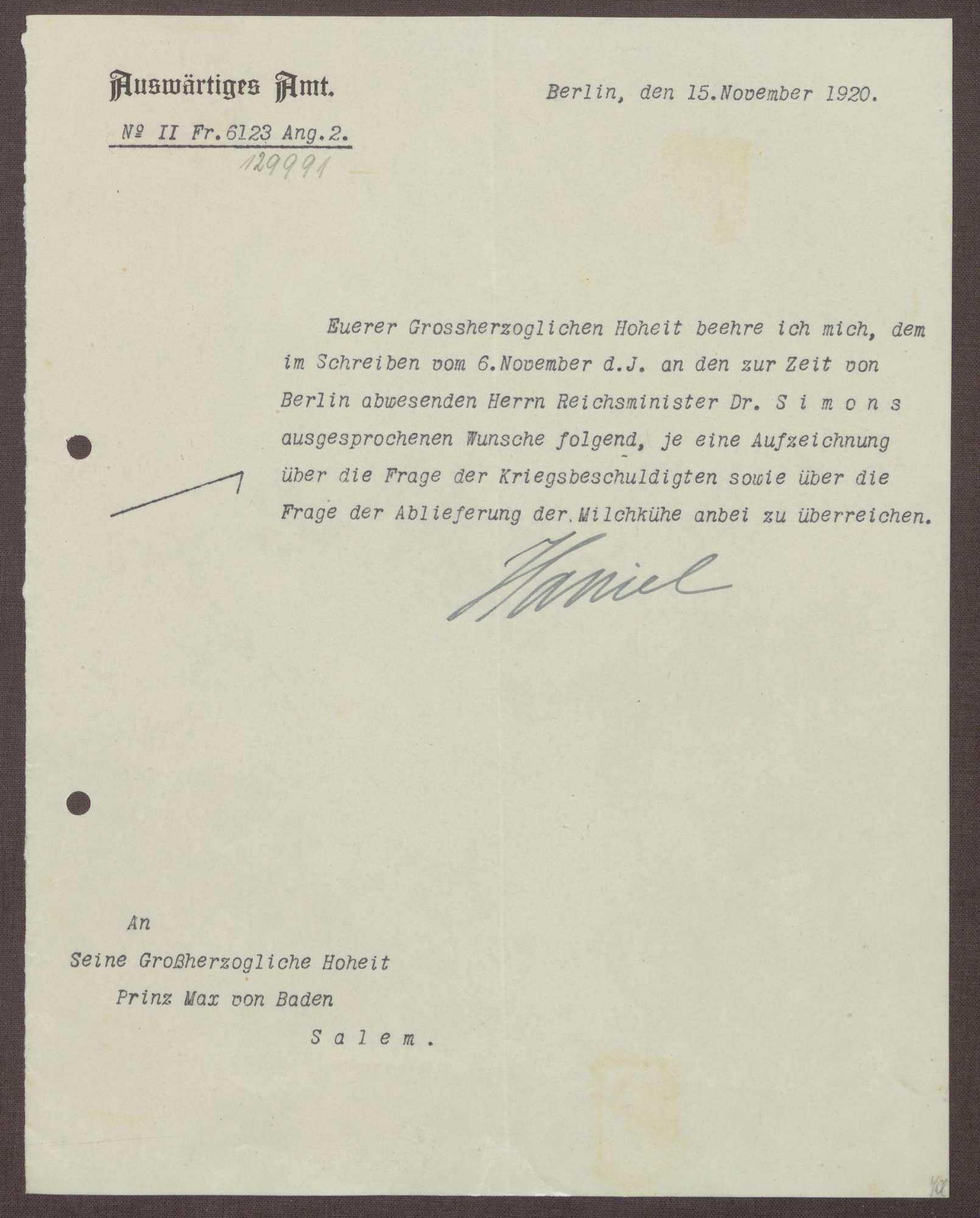 Schreiben von Edgar Haniel von Haimhausen an Prinz Max von Baden; Kriegsschuldfrage und die Ablieferung von Milchkühen, Bild 1