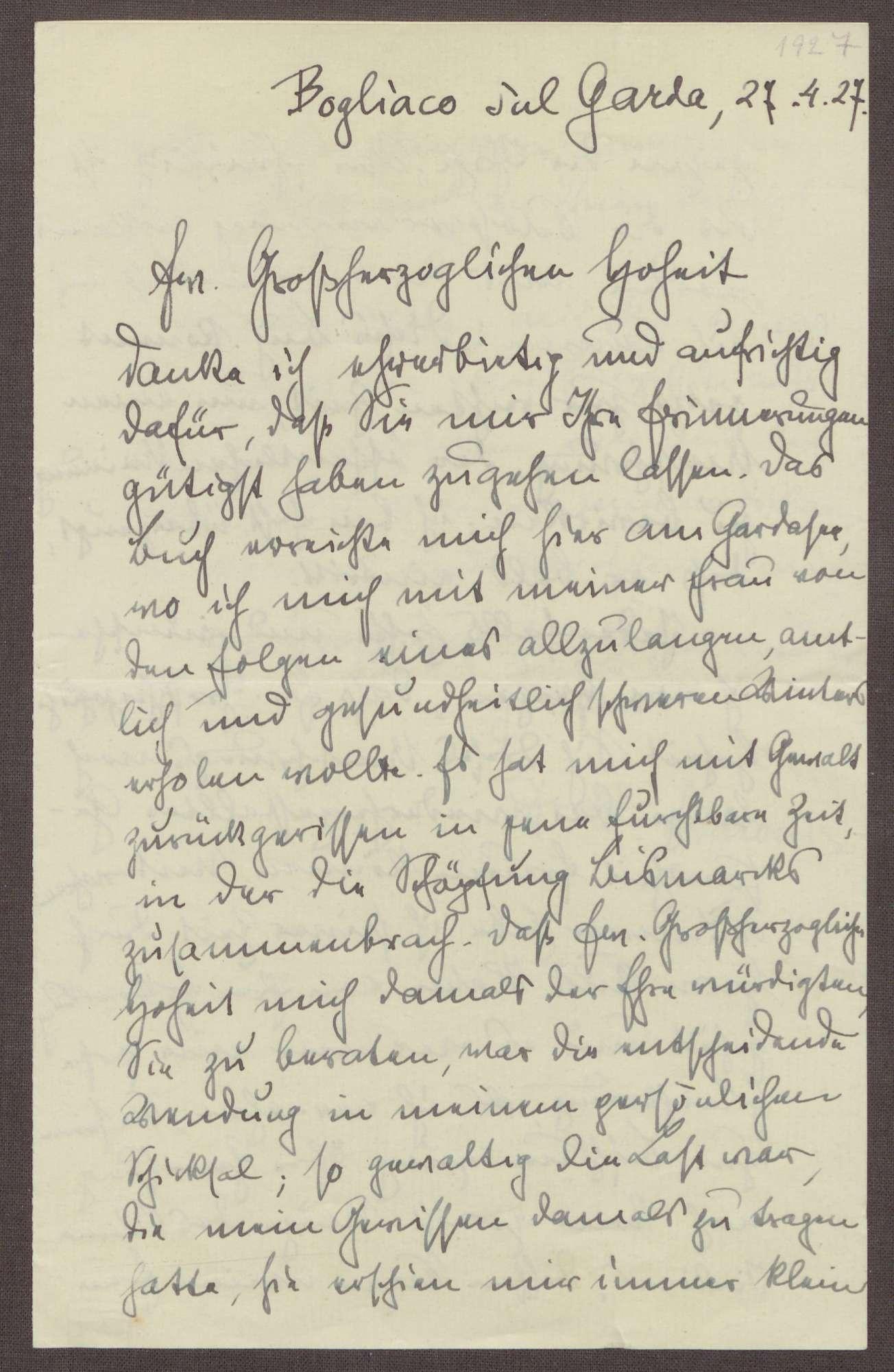 Schreiben von Walter Simons an Prinz Max von Baden; Dank für die Übersendung der Memorien des Prinzen Max, Einschätzung zu den Memorien, Umschwung der öffentlichen Meinung, Erkrankung des Prinzen Max, Bild 1