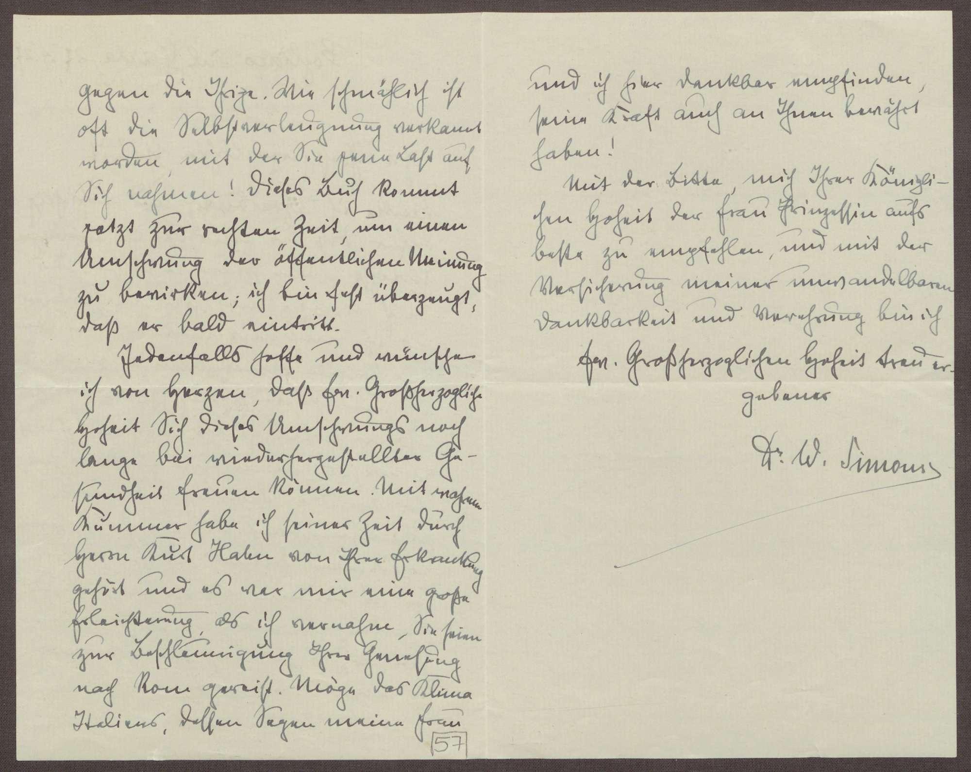 Schreiben von Walter Simons an Prinz Max von Baden; Dank für die Übersendung der Memorien des Prinzen Max, Einschätzung zu den Memorien, Umschwung der öffentlichen Meinung, Erkrankung des Prinzen Max, Bild 2