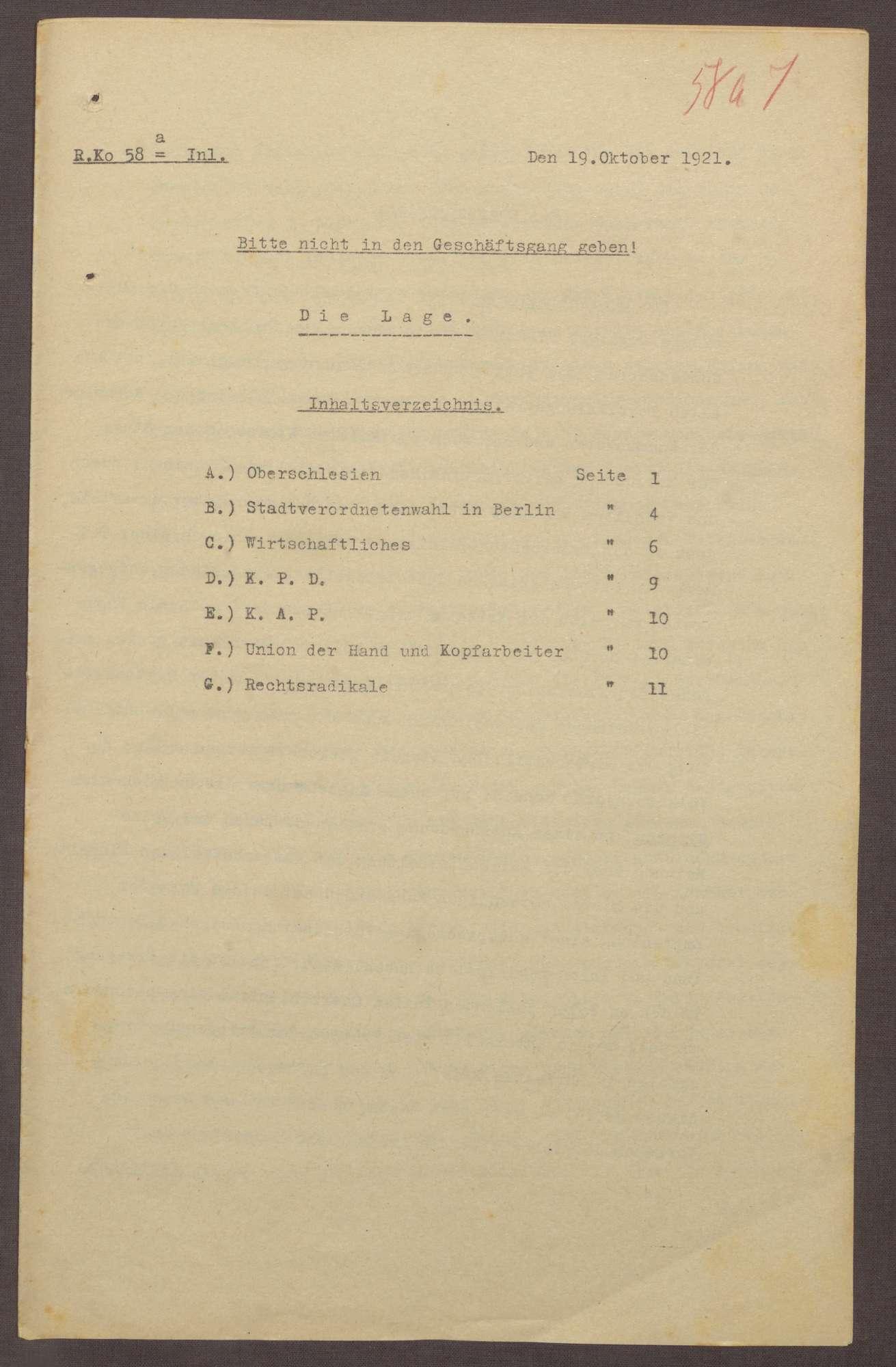 Lageberichte des Reichskommissars für Überwachung der öffentlichen Ordnung, Nr. 58a; zweimal vorhanden, Bild 1