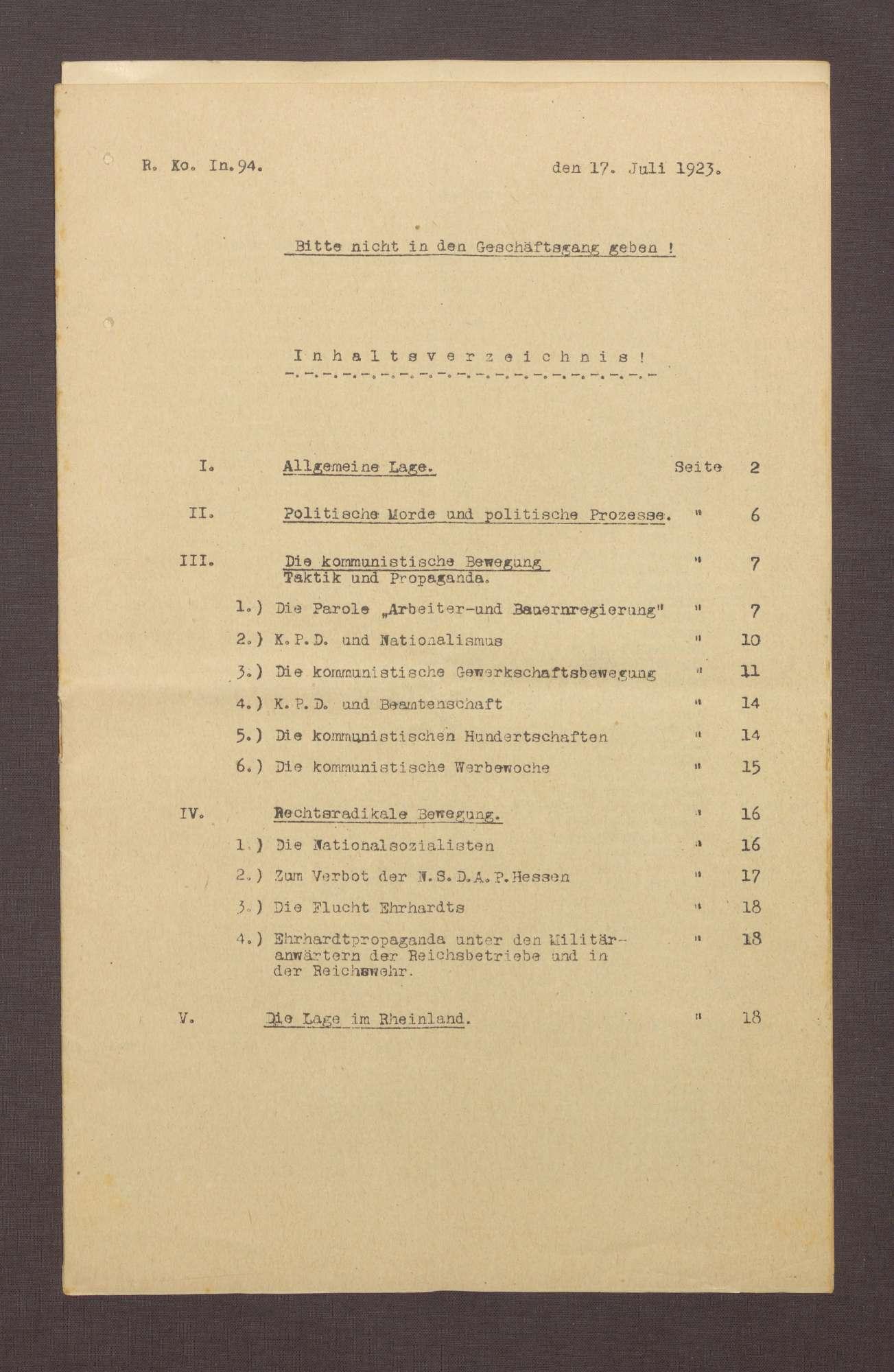 Lageberichte des Reichskommissars für Überwachung der öffentlichen Ordnung, Nr. 94, Bild 1