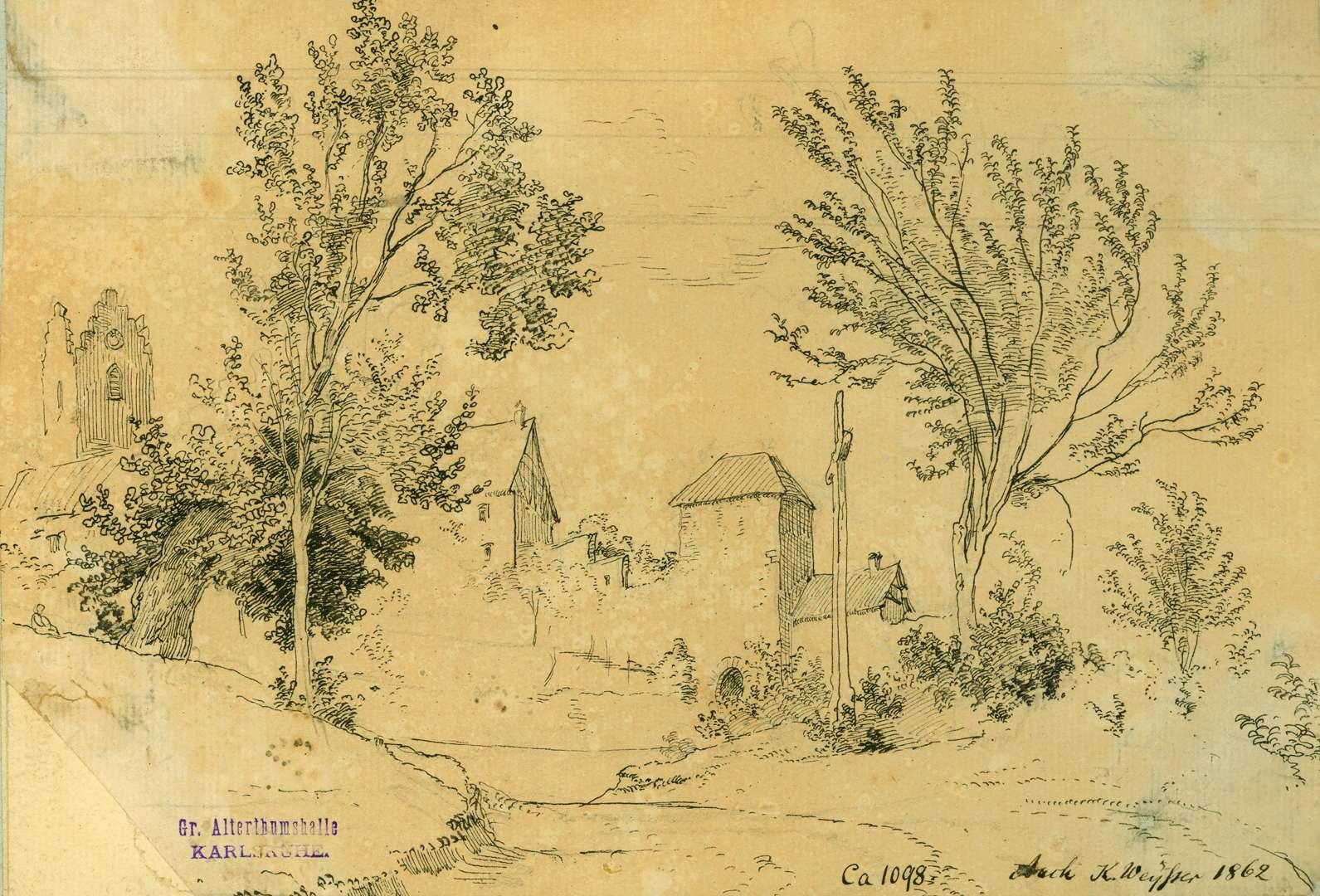 Aach Blick auf Befestigungstürme der Stadtmauer, Bild 1