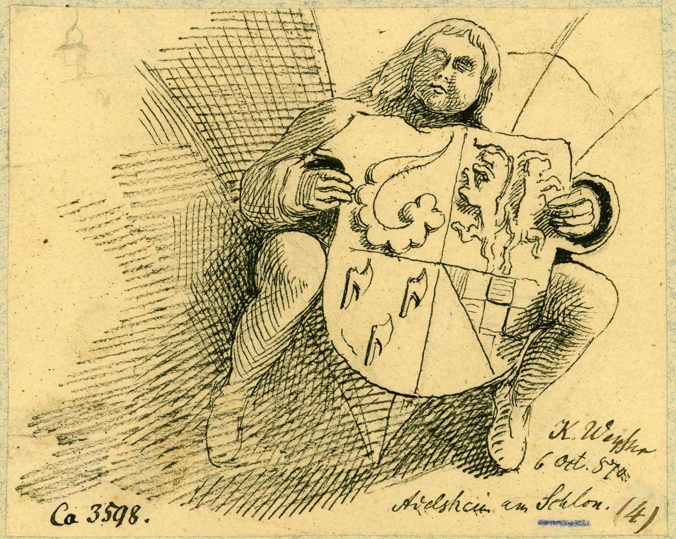 Adelsheim Figur Bernhardt Ludwig von und zu Adelsheim mit Wappen am Schlosserker, Bild 1