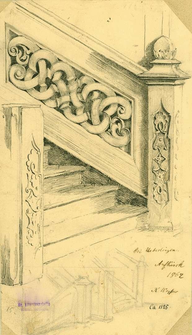 Aufkirch Treppenaufgang mit reich geschnitztem Holzgeländer in der Kirche, Bild 1