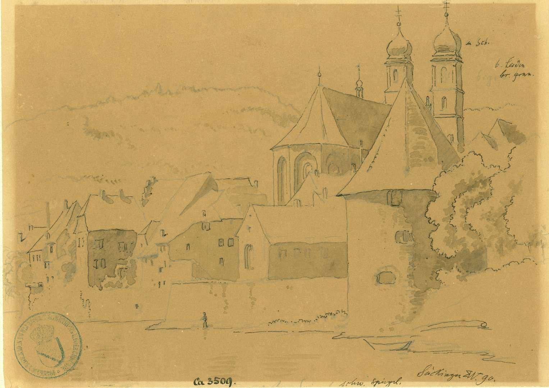 Säckingen Blick vom Rhein auf Gallusturm und Fridolinsmünster, Bild 1