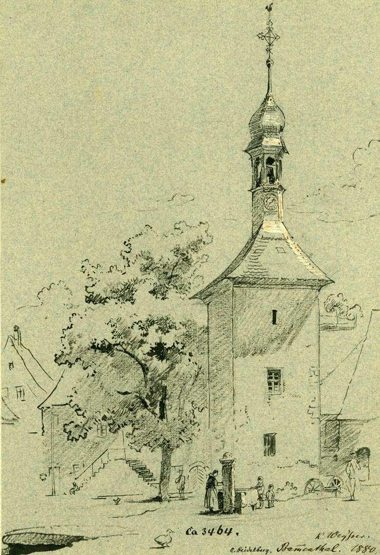 Bammental Kirchplatz mit Brunnen, Bild 1