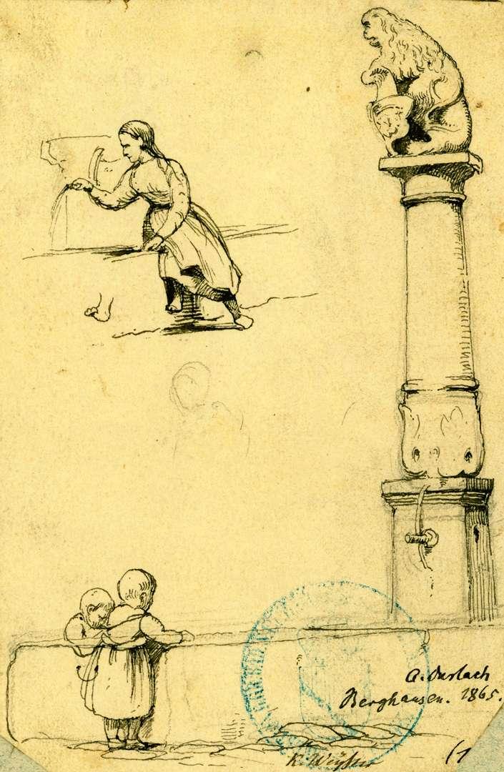 Berghausen Brunnensäule mit Löwen und badischem Wappen, Bild 1
