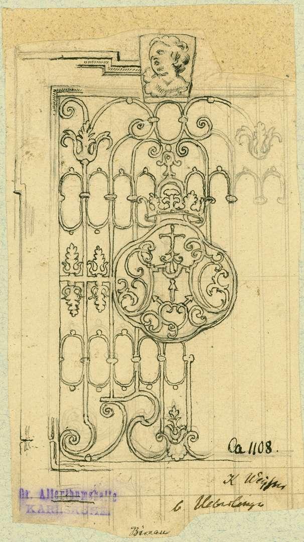 Birnau Schmiedeeisernes Fenstergitter mit Wappen, Bild 1