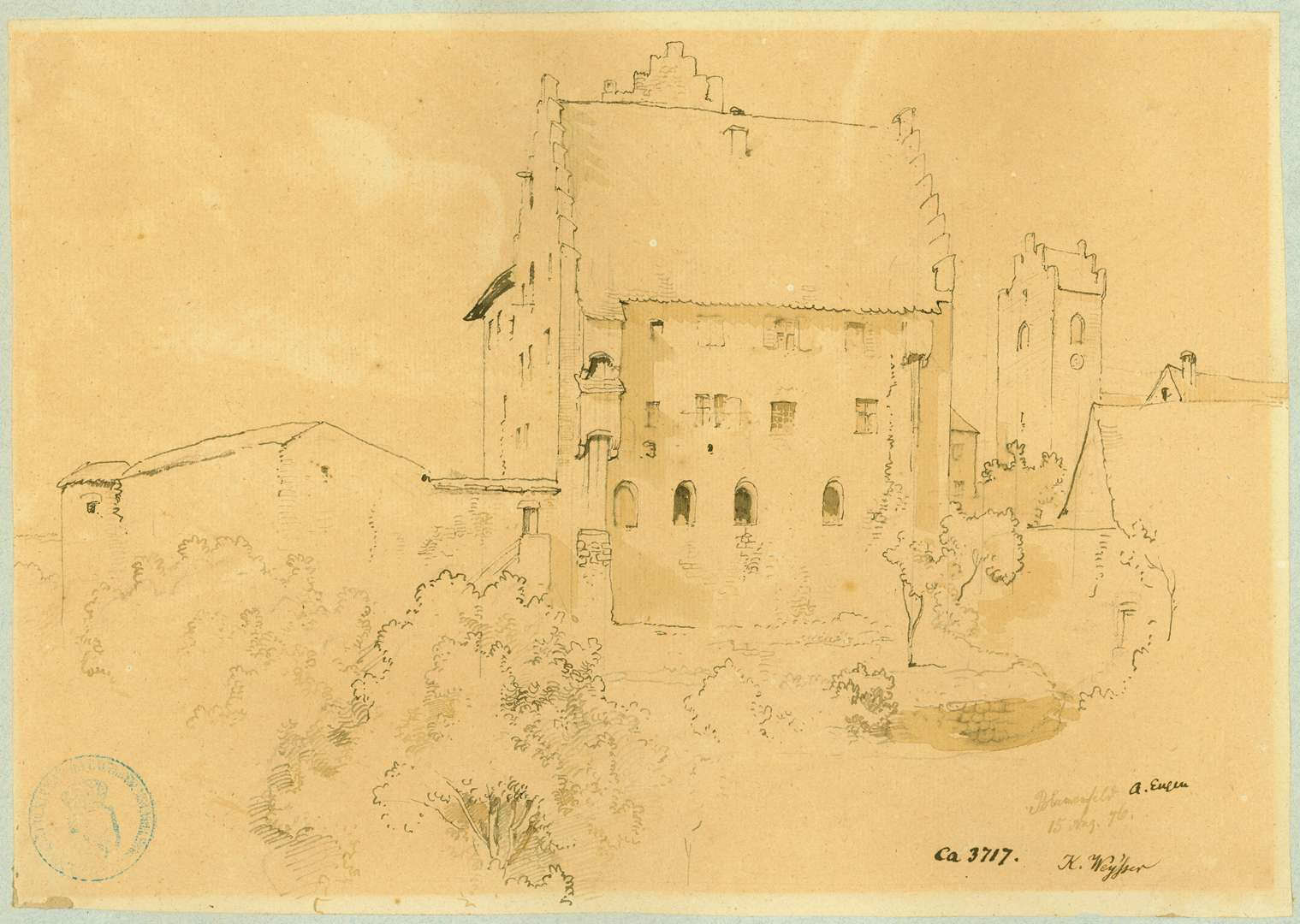 Blumenfeld Ansicht Deutschordensschloss mit Turm der Pfarrkirche im Hintergrund, Bild 1