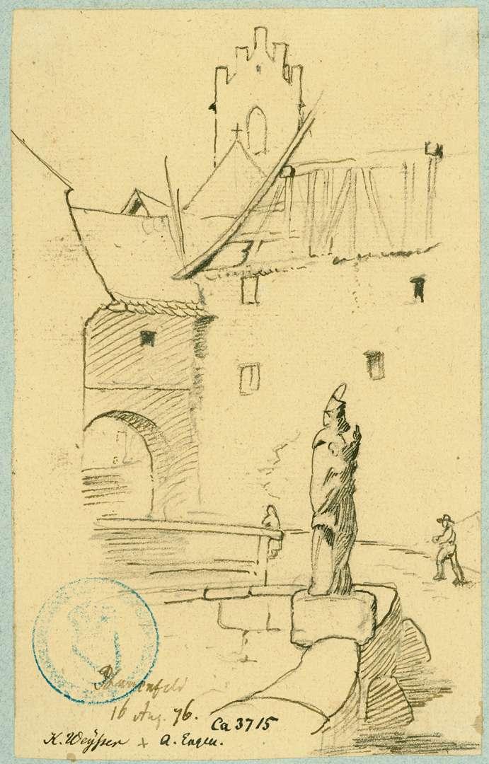 Blumenfeld Nepomukbrücke mit Stadttor und Turm der Pfarrkirche, Bild 1