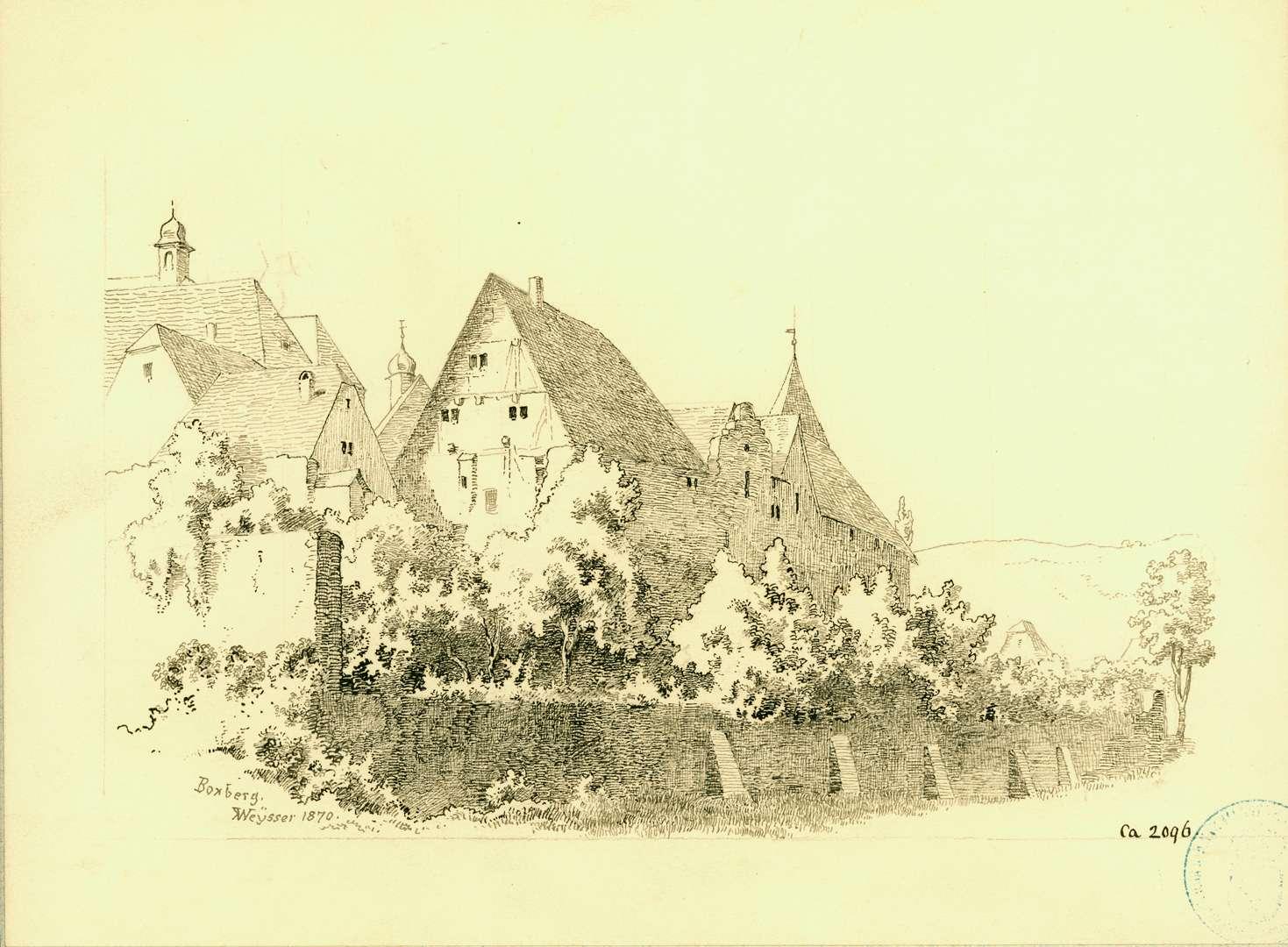 Boxberg Stadtansicht mit Befestigungsmauer von Westen, Bild 1
