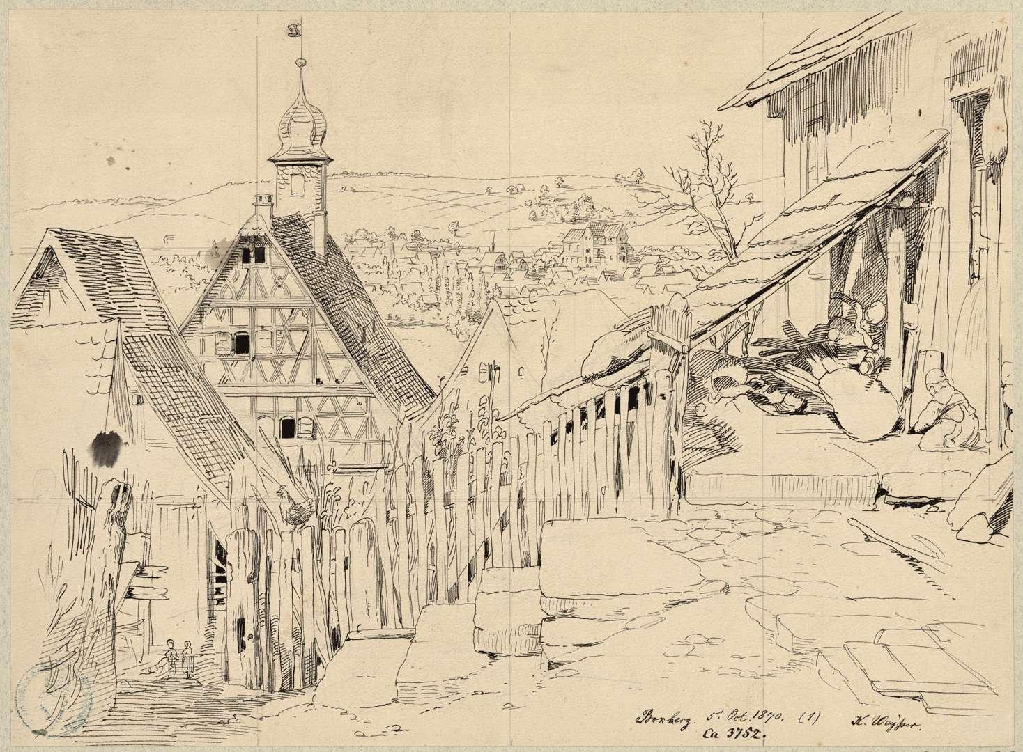 Boxberg Partie beim Rathaus mit Blick auf Wölchingen, Bild 1