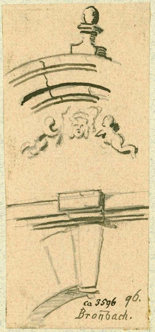 Bronnbach Detailzeichnung Steinbogen über der Hauptdurchfahrt zur Klosterkirche, Bild 1