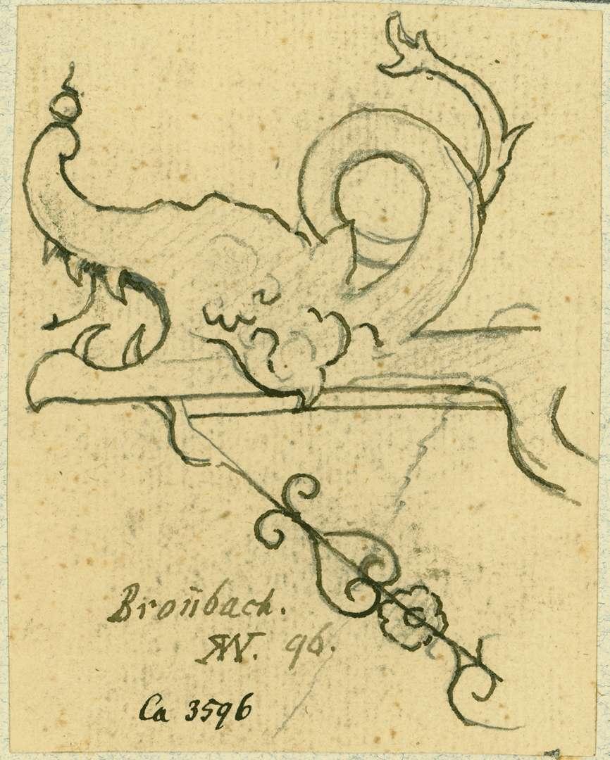Bronnbach Wasserspeier in Drachenform am Dach des Bursariusbaus, Bild 1