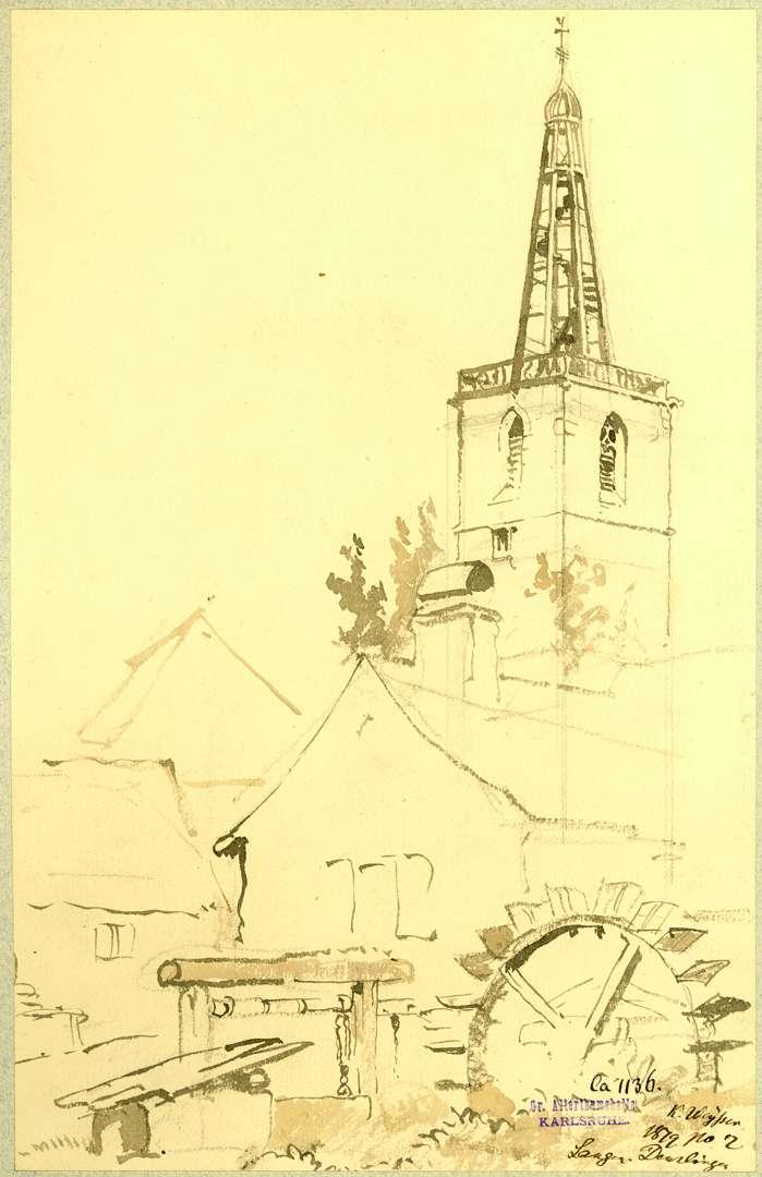 Denzlingen Schleuse mit Wasserrad, im Hintergrund Turm der protestantischen Pfarrkirche, Bild 1