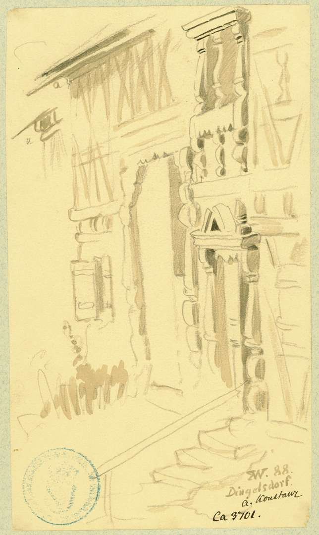 Dingelsdorf Fachwerkhaus mit reich geschnitzten Fenster- und Türrahmen, Bild 1