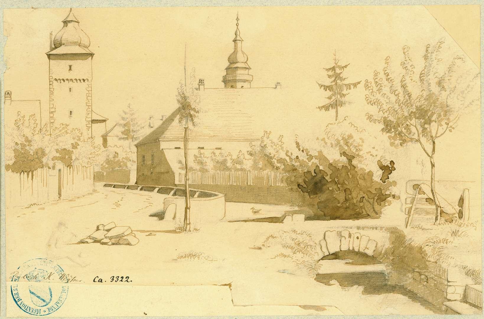 Durlach Partie an einem kleinen Kanal mit Blick auf das Basler Tor von Süden, Bild 1