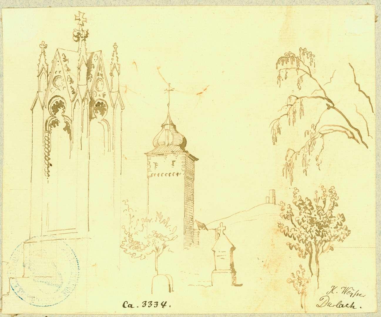 Durlach Basler Tor von Südwesten mit Turmberg im Hintergrund, Detailzeichnung gotischer Bildstock im Vordergrund, Bild 1