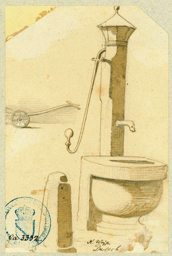 Durlach Wasserpumpe mit halbrundem Steinbecken, Bild 1