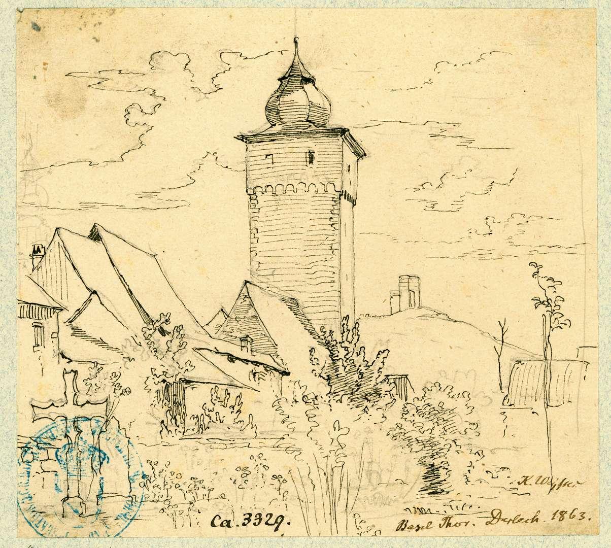 Durlach Basler Tor von Nordwesten mit Turmberg im Hintergrund, Bild 1