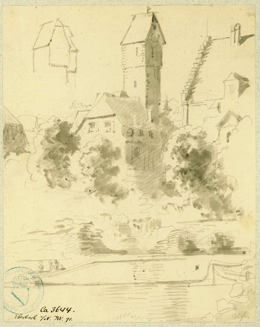 Eberbach Blick vom Neckar auf Mantelturm und Thalheim