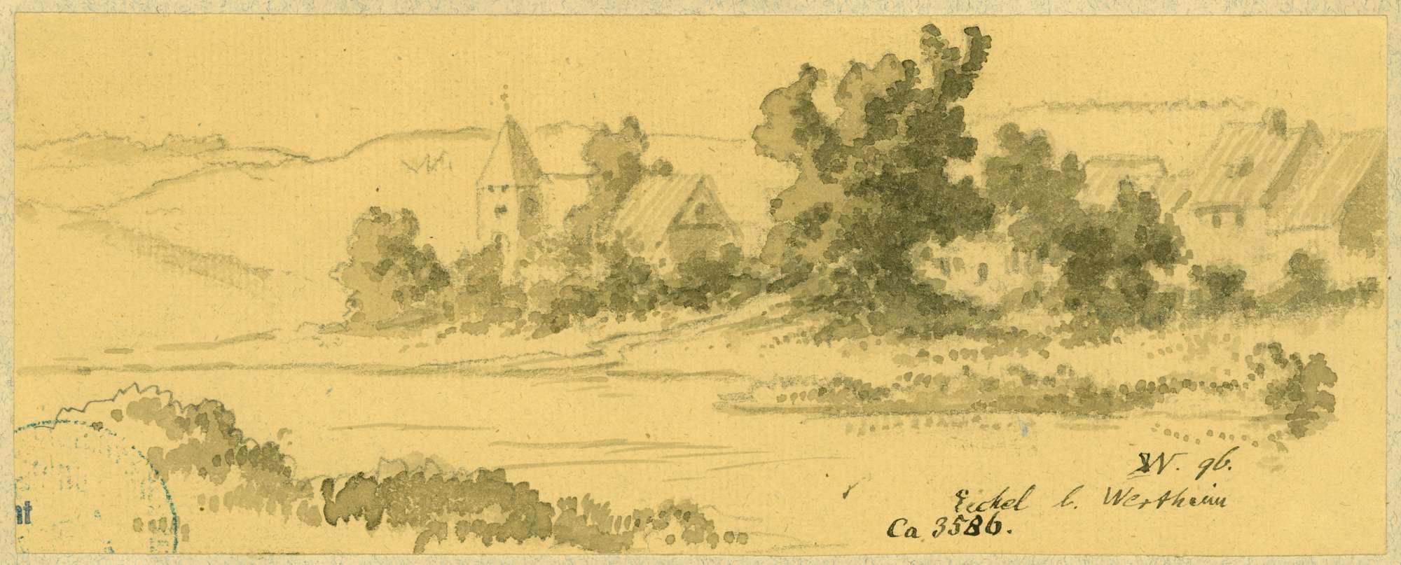 Eichel Blick über den Main auf das Dorf mit Veitskirche, Bild 1