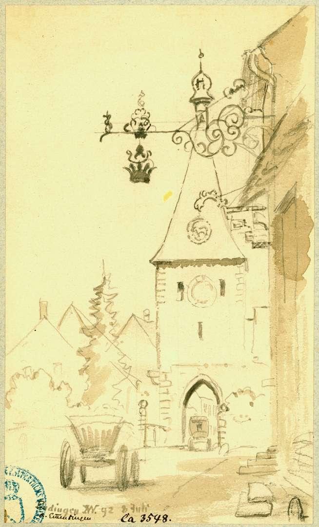 Endingen Blick vom Gasthaus zur Krone auf das Stadttor, Bild 1