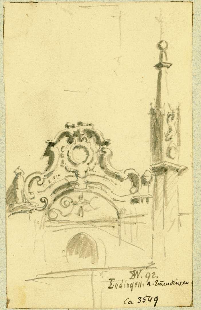 Endingen Portalbogen Rathaus mit gotischem Brunnenschaft im Vordergrund, Bild 1