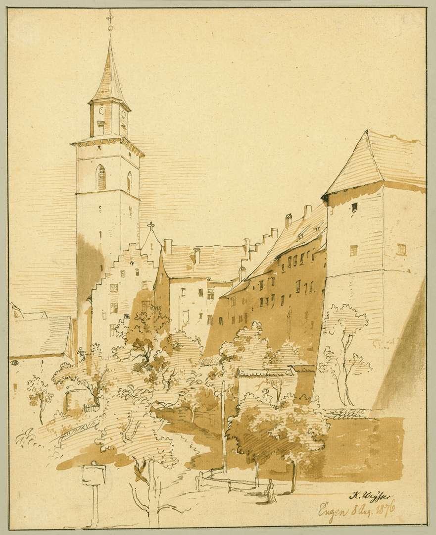 Engen Blick vom Krenkinger Schloss auf Liebfrauenkirche, Bild 1