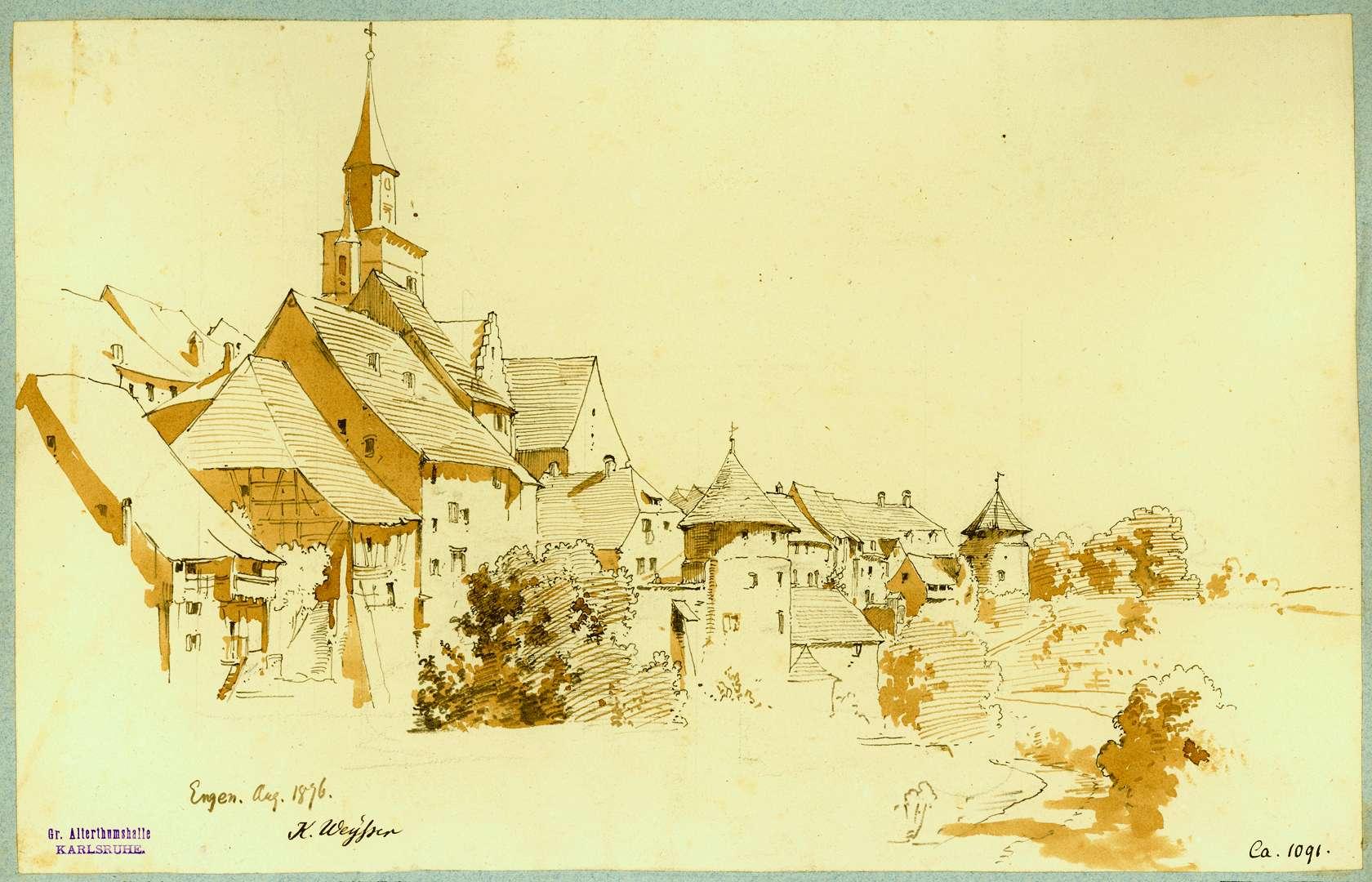Engen Stadtansicht mit Wehrtürmen der Stadtmauer im Vordergrund, Bild 1