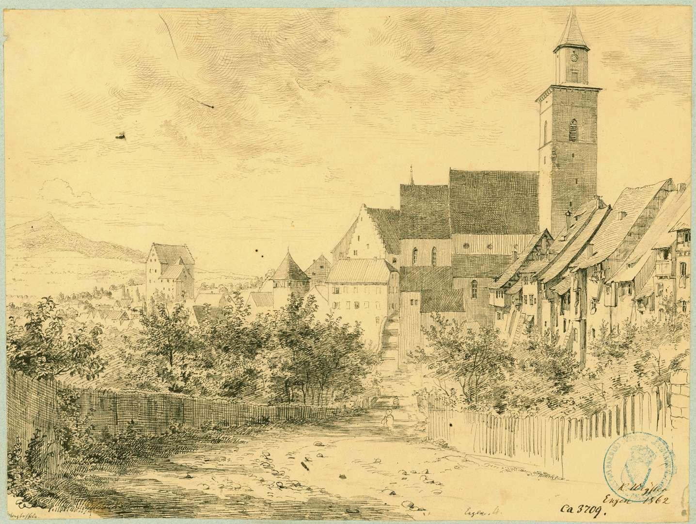 Engen Stadtansicht von Süden mit Blick auf Liebfrauenkirche, links im Hintergrund der Hohenstoffeln, Bild 1