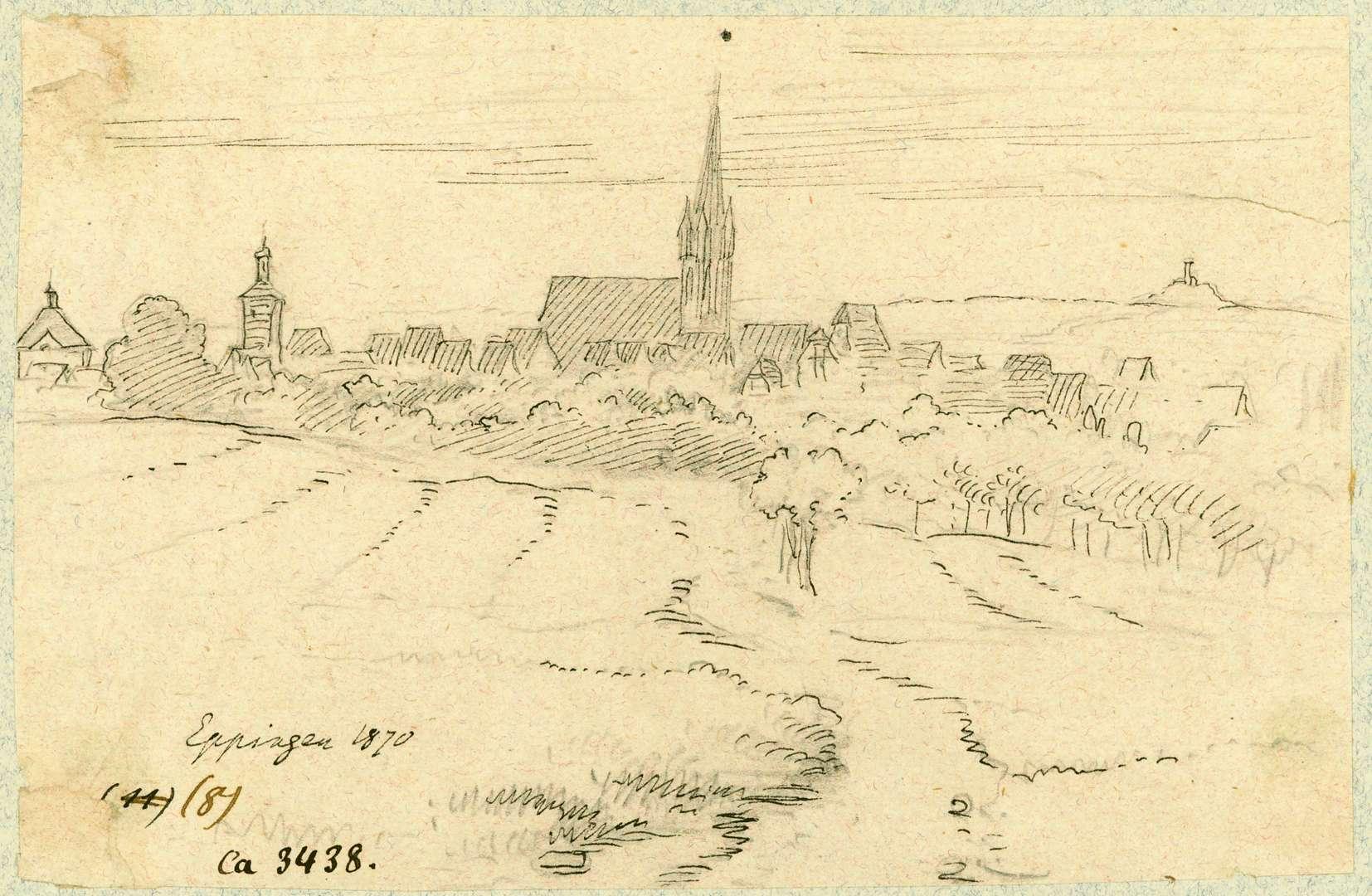 Eppingen Südansicht Eppingen mit Burg Steinsberg im Hintergrund, Bild 1