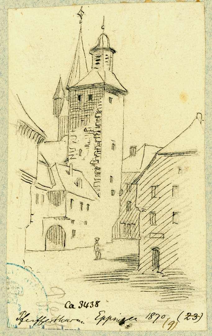Eppingen Südostecke Marktplatz mit Pfeifferturm, Bild 1