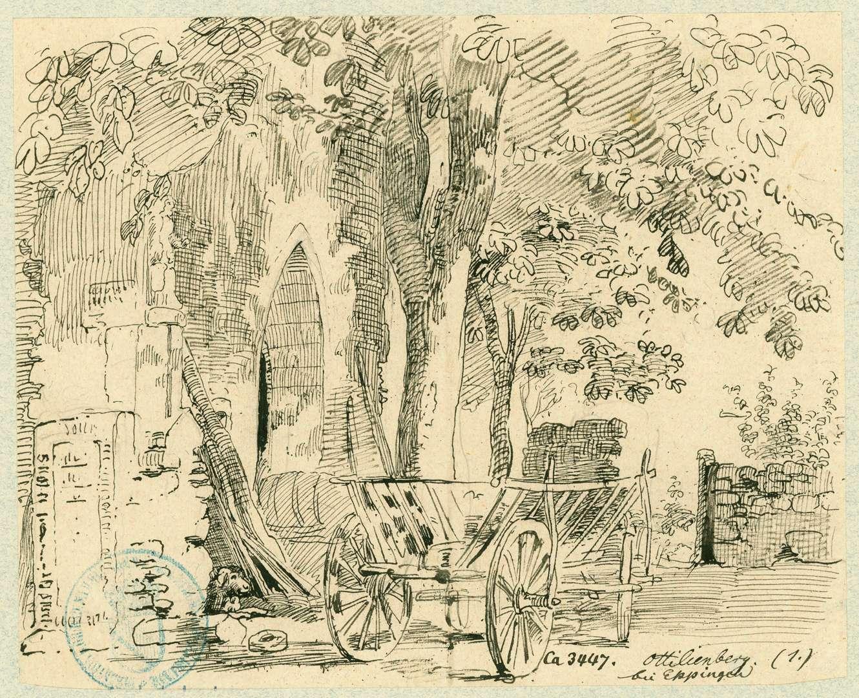 Eppingen Eingang zum Chorhaus der Wallfahrtskapelle Ottilienberg mit Leiterwagen davor, Bild 1