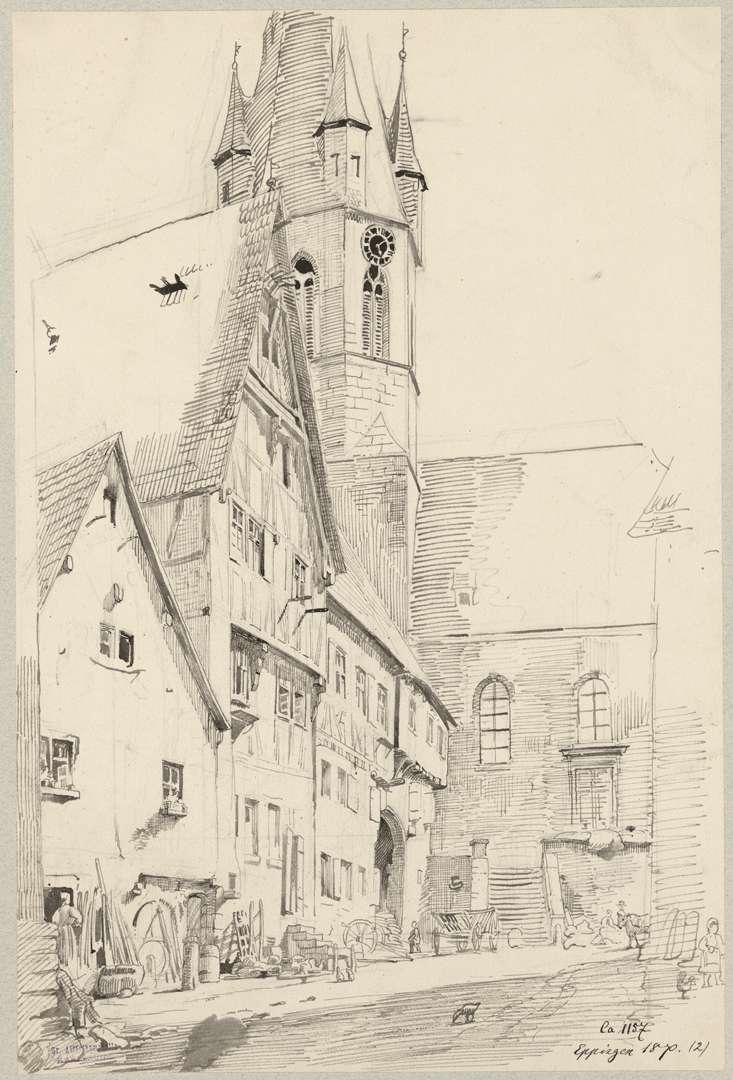 Eppingen Kirchgasse mit Blick auf den Anbau der katholischen Stadtpfarrkirche Unsere Liebe Frau Mariä Himmelfahrt, Bild 1