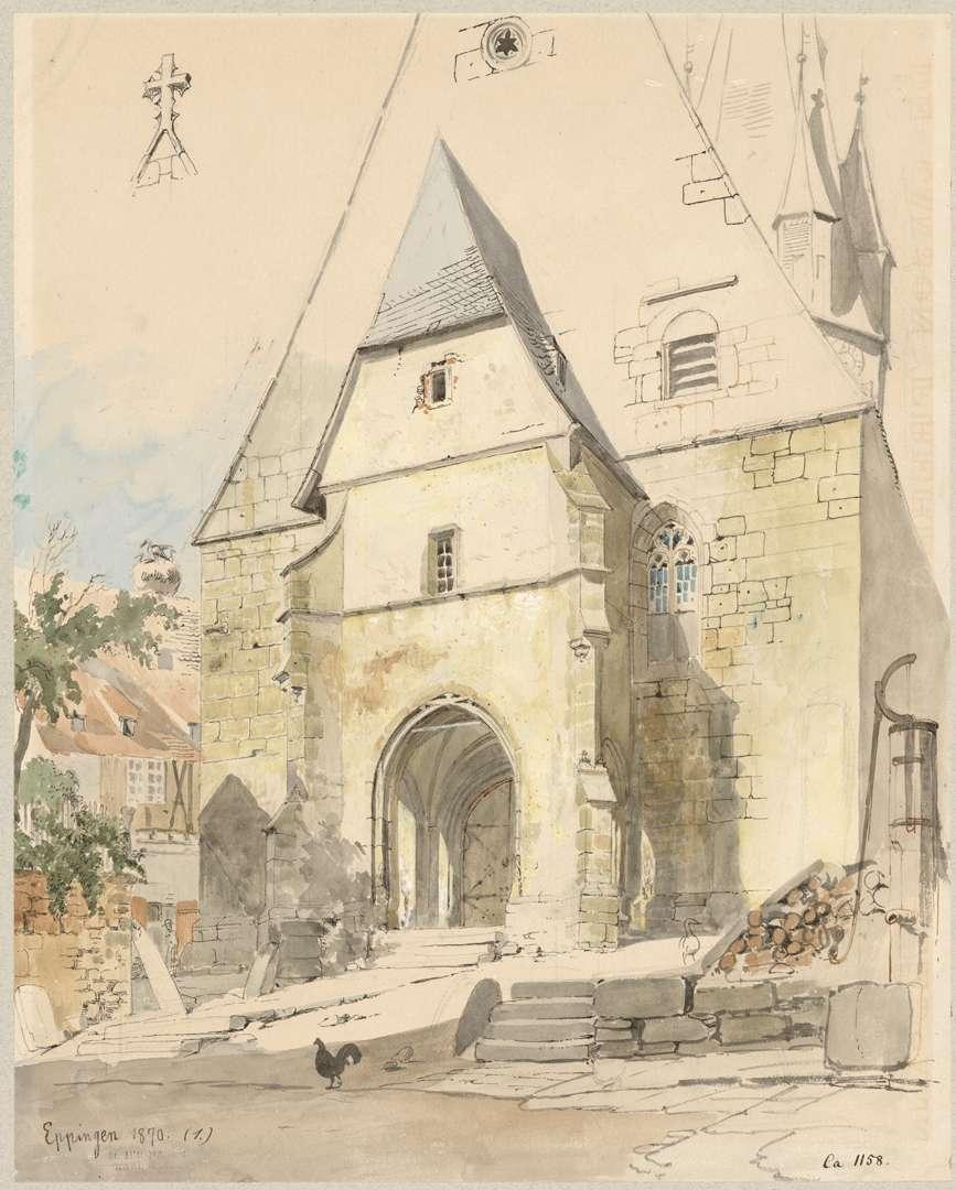 Eppingen Westfront mit Eingangsvorhalle der katholischen Stadtpfarrkirche Unsere Liebe Frau Mariä Himmelfahrt, Bild 1