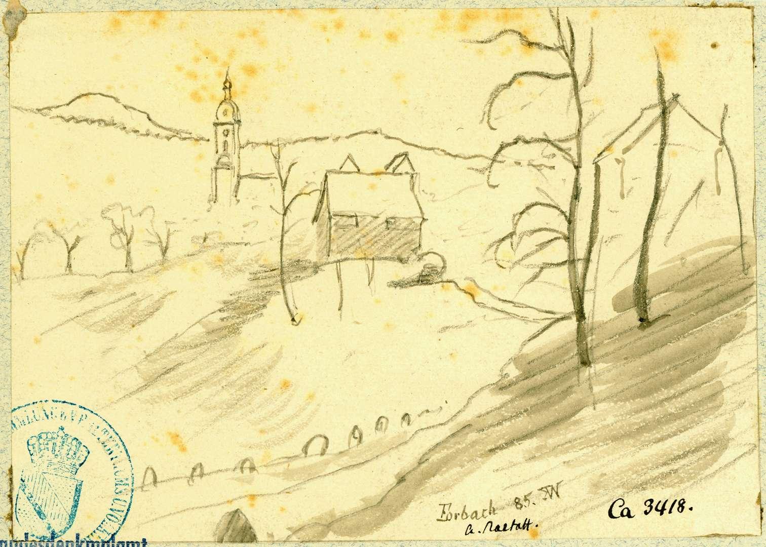 Forbach Landschaft mit Turm der katholischen Pfarrkirche im Hintergrund, Bild 1