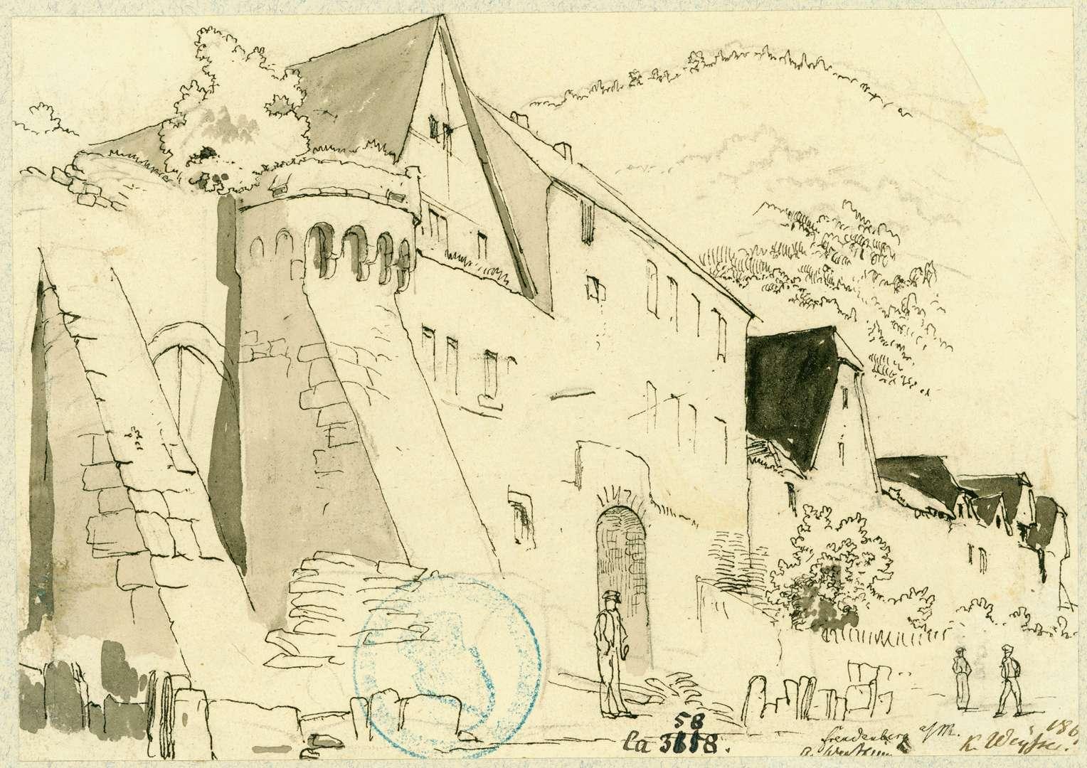Freudenberg Stadtmauer mit Stützpfeiler, Mainseite, Bild 1