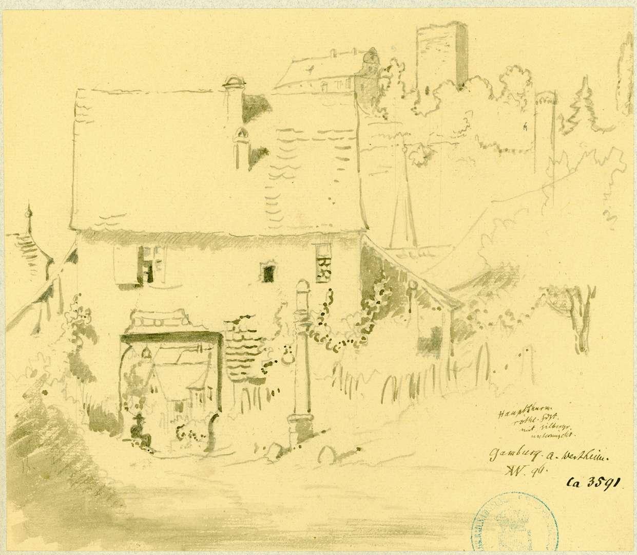 Gamburg Ehemaliges Mühlentor mit der Gamburg im Hintergrund, Bild 1