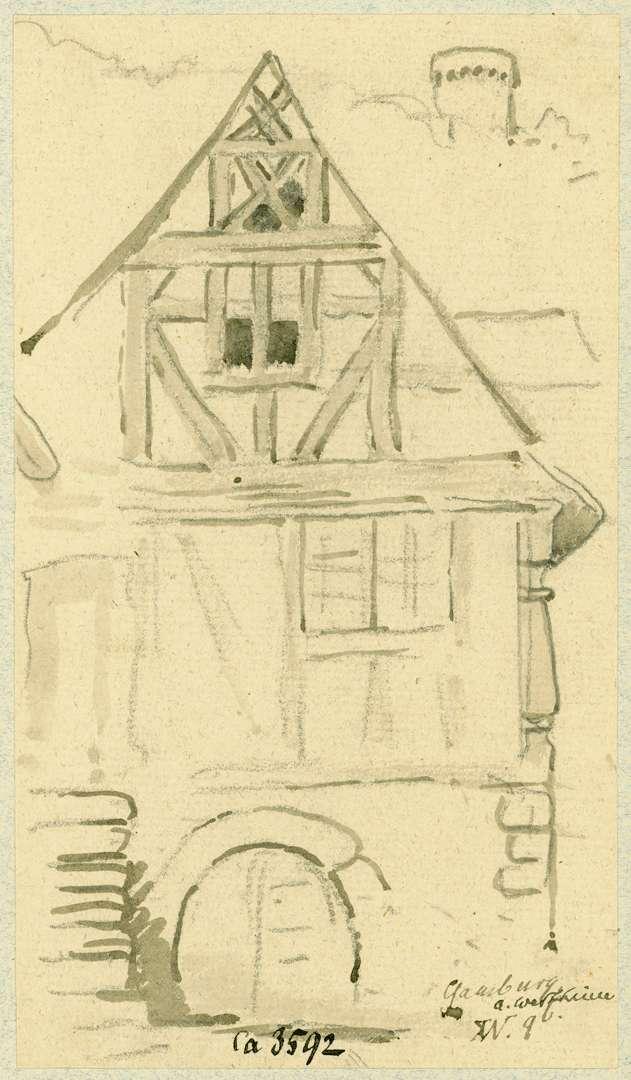 Gamburg Giebelfront Fachwerkhaus, Bild 1