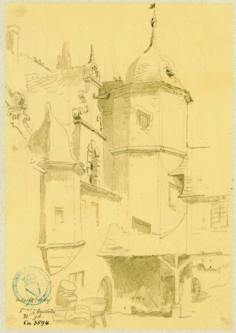 Gamburg Innenhof mit Treppenturm und Erker Eulschirbenmühle, Bild 1